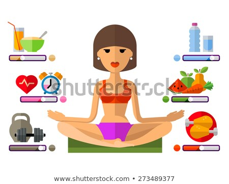 Vector of fit woman posing with dumbbell and fruit. Stock photo © Morphart