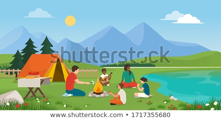 family sits on to the grass stock photo © Paha_L