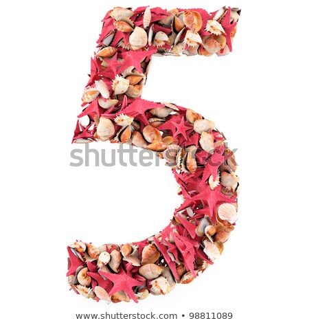 Number five made of seashells. Isolated on white. 3d render Stock photo © frescomovie