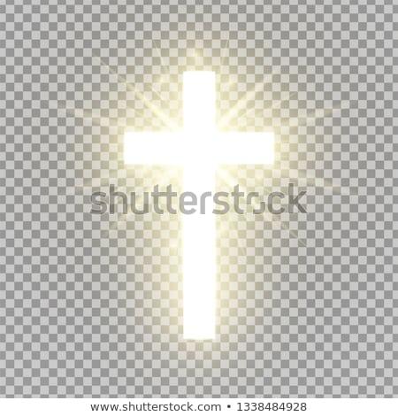 Vrolijk pasen gouden christelijke kruis kaart voorjaar Stockfoto © carodi