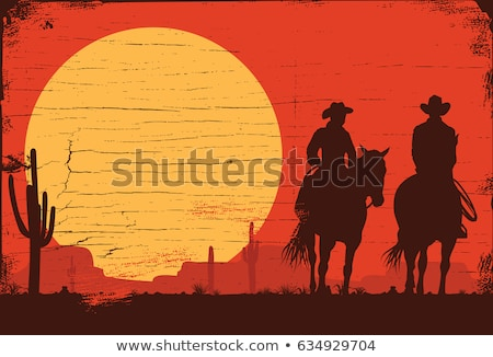 couple of cowboys with horse at sunset Stock photo © adrenalina