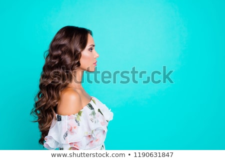 Beautiful Woman with wavy hair and text beauty  Stock photo © shawlinmohd