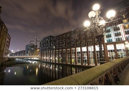 Amburgo Germania notte canale porto città Foto d'archivio © meinzahn