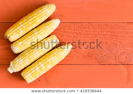 four fresh sweet corn cobs on an orange table stock photo © ozgur