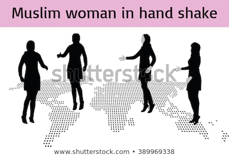 Muslim woman silhouette in hand shake pose Stock photo © Istanbul2009