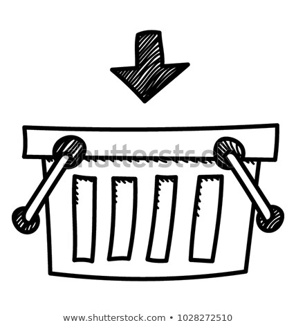 rabisco · carrinho · de · compras · ícone · azul · caneta - foto stock © pakete