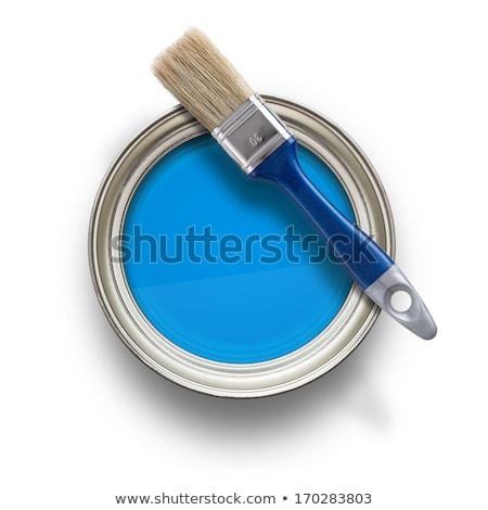 Foto d'archivio: Può · blu · vernice · illustrazione · bianco · arte