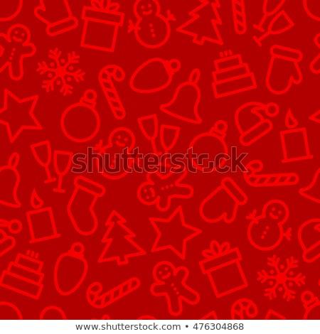 karácsony · ikon · gyűjtemény · végtelen · minta · tél · ünnepek · vektor - stock fotó © karandaev