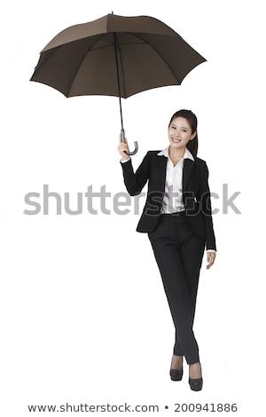 Portré mosolyog ázsiai üzletasszony áll lábak keresztbe Stock fotó © deandrobot