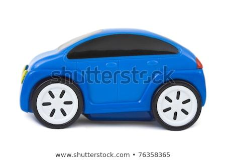 Blauw plastic auto speelgoed geïsoleerd witte Stockfoto © jonnysek