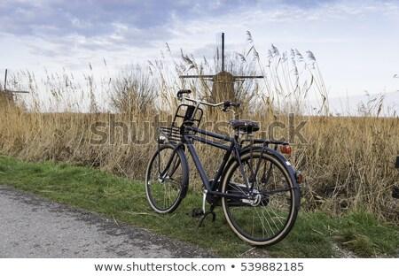 Velho tipo bicicleta moinho de vento preto holandês Foto stock © compuinfoto