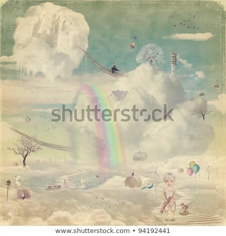Könyv út vidék jelenet illusztráció tájkép Stock fotó © bluering