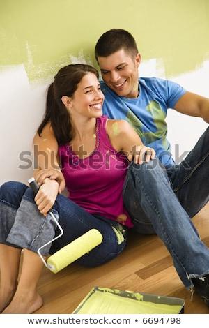 casal · discussão · casa · ver · sessão · sofá - foto stock © dash