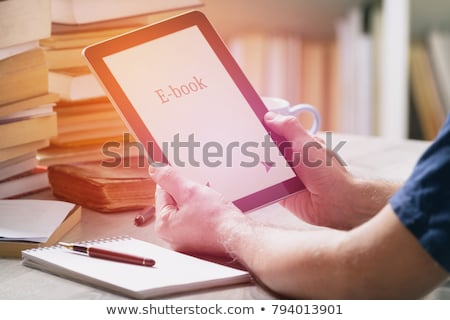 ebook · lector · blanco · 3D · generado · imagen - foto stock © koufax73