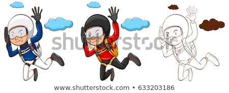Doodle character for man doing parachute Stock photo © bluering