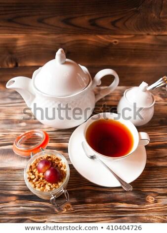 Dessert banca Cup tè teiera legno Foto d'archivio © Yatsenko