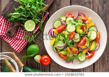 Friss vegyes paprika paradicsom saláta tányér Stock fotó © Digifoodstock