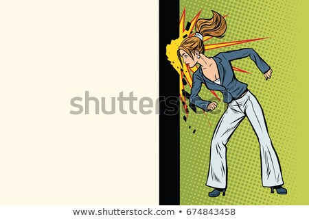 Businesswoman punches the wall with his head Stock photo © studiostoks