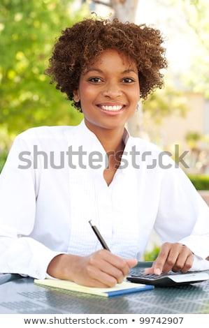 gyönyörű · afroamerikai · nő · természetes · göndör · haj · üzlet - stock fotó © nikodzhi