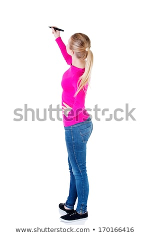 Female businessperson writing on whiteboard Stock photo © stevanovicigor