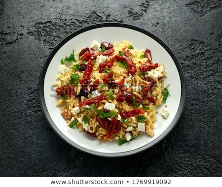 Azeitonas pretas salsa prato fresco branco fruto Foto stock © Digifoodstock