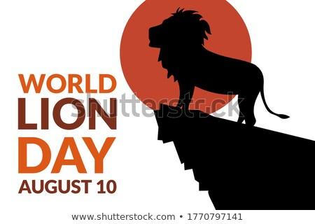 10 ağustos dünya aslan gün takvim Stok fotoğraf © Olena