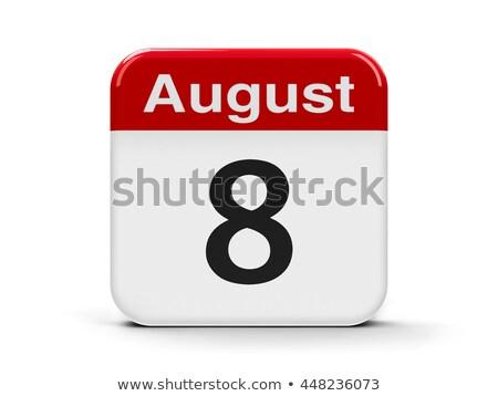 Août jour calendrier carte de vœux vacances icône Photo stock © Olena