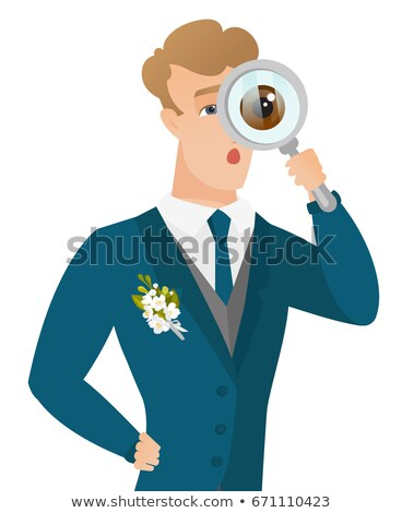 Young caucasian groom with magnifying glass. Stock photo © RAStudio