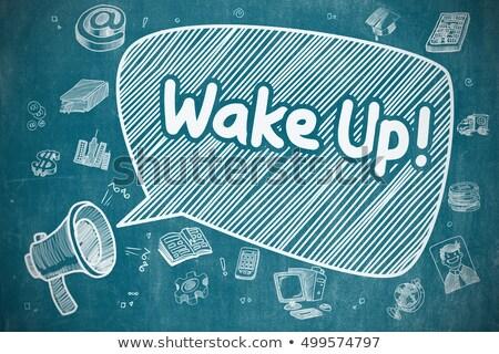 Wake Up - Cartoon Illustration on Blue Chalkboard. Stock photo © tashatuvango