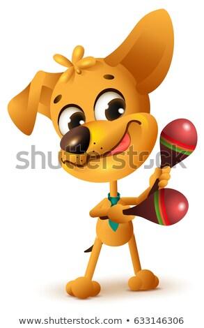 Funny yellow dog plays maracas Stock photo © orensila