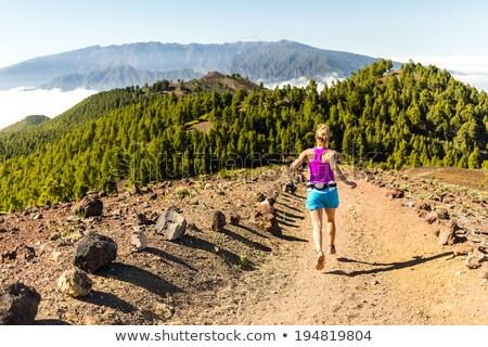 vrouw · lopen · lopen · bergen · zomer · zonsondergang - stockfoto © blasbike