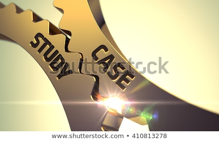 Case Study on Golden Metallic Cog Gears. Stock photo © tashatuvango
