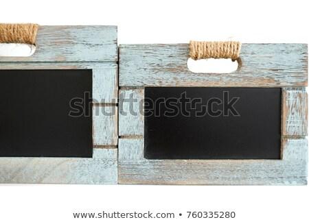 Rusztikus fából készült kék láda tábla iskolatábla Stock fotó © jaylopez