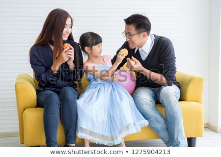 Foto stock: Asiático · casal · maçãs · saudável · mulher
