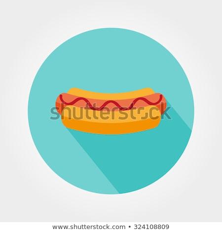 Hot Dog вектора икона изолированный белый Сток-фото © smoki