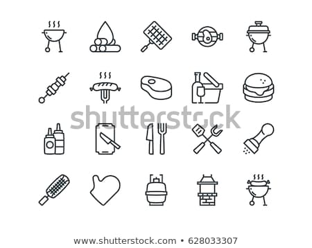 Barbecue gas grill with grilled kebabs icon Stock photo © studioworkstock