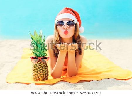 Stock fotó: Portré · csinos · boldog · lány · napszemüveg · mikulás · kalap