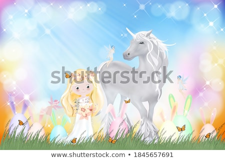 Vector Illustration of Happy Easter Holiday with Spring Flower in Nice Rabbit Face Silhouette on Lig Stock photo © articular
