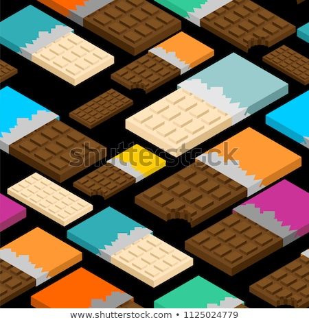 White Chocolate bar isometric. Sweetness Vector illustration. Fo Stock photo © popaukropa