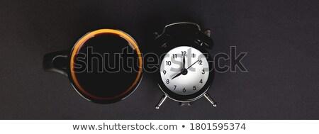 ochtend · koffie · ontbijt · vruchten · wekker · Geel - stockfoto © illia