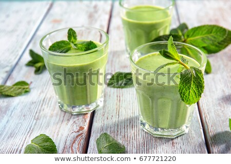 Stock fotó: Zöld · smoothie · szemüveg · hozzávalók · elrendezés · kevés · felszolgált
