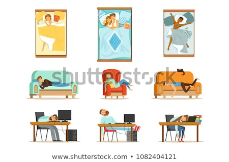 疲れ果てた · 小さな · ビジネス女性 · 寝 · 表 · 職場 - ストックフォト © dolgachov