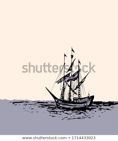 pirata · céu · água · pôr · do · sol · mar - foto stock © rastudio