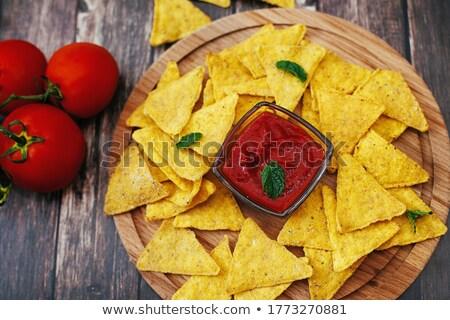 nachos · zöldségek · piros · mártás · sajt · izolált - stock fotó © artjazz
