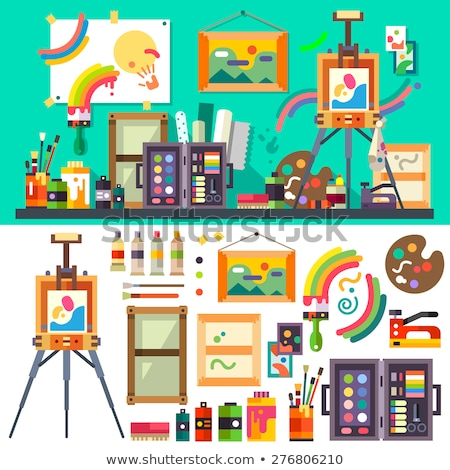 flat art painter workshop with paint supplies equipment tools background. Vector illustration design stock photo © Linetale