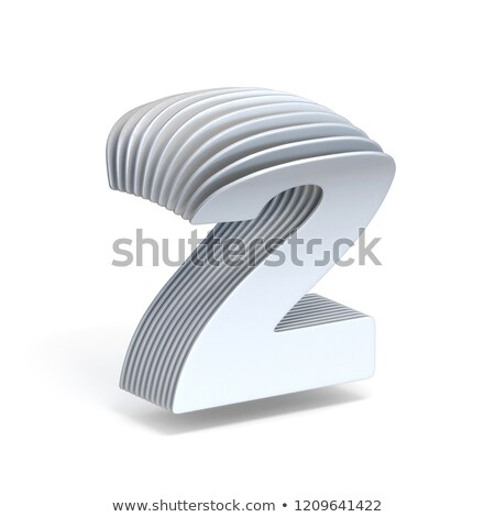 Curved paper sheets Number 2 TWO 3D Stock photo © djmilic