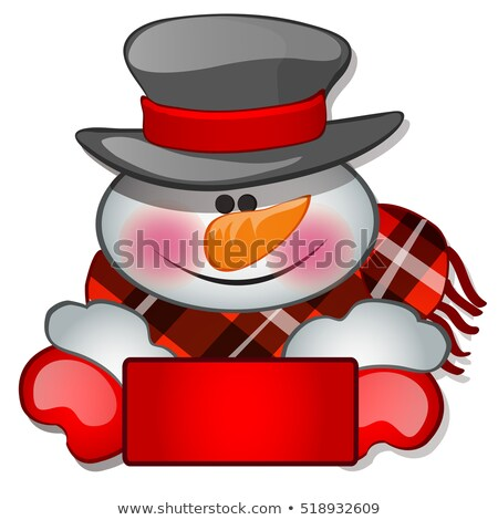 The snowman's head in tophat. Sketch for greeting card, festive poster or party invitations.The attr Stock photo © Lady-Luck