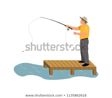 Adam balık tutma ahşap duvarcılık renkli afiş Stok fotoğraf © robuart