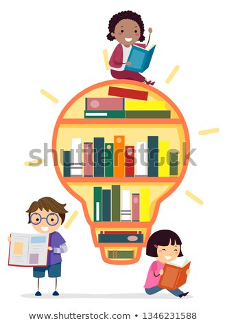 Stickman Kids Book Shelves Reading Illustration Stock photo © lenm