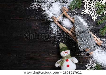 Christmas snowman sanki zabawki oddziału Zdjęcia stock © karandaev